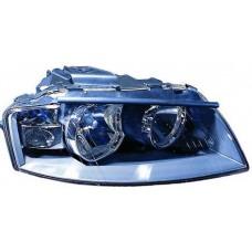 фара л+п (комплект) тюнинг п/корректор линзован с 2 светящ ободк внутри черная для AUDI A3 с 2004 и далее