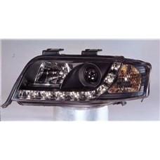 фара л+п (комплект) тюнинг линзован (devil eyes) (sonar) внутри черная для AUDI A6 с 2001 по 2003