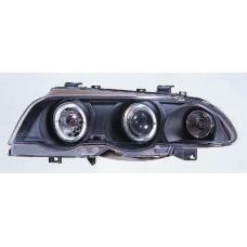 фара л+п (комплект) тюнинг линзован с 2 светящ ободк , литой ук.повор (sonar) внутри черная для BMW E46 СЕДАН с 1998 по 2001