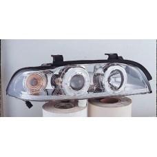 фара л+п (комплект) тюнинг линзован с светящ ободк прозрач с рег.мотор (sonar) внутри хром для BMW E39 с 1996 по 2003