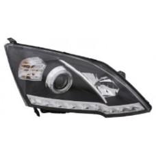 фара л+п (комплект) тюнинг линзован (devil eyes) с светящ ободк eagle eyes внутри черная-хром для HONDA CRV с 2007 и далее