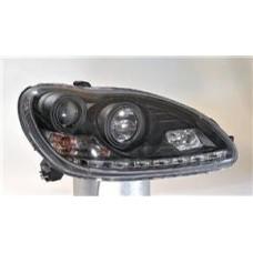 фара л+п (комплект) тюнинг линзован (devil eyes) с 2 светящ ободк (sonar) внутри черная для MERCEDES W220 с 1998 и далее