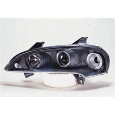 фара л+п (комплект) тюнинг линзован с 2 светящ ободк (sonar) внутри черная для OPEL TIGRA с 1994 и далее