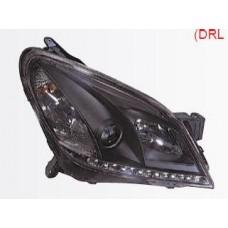 фара л+п (комплект) тюнинг (devil eyes) (sonar) линзован с рег.мотор внутри черная для OPEL ASTRA H с 2004 и далее