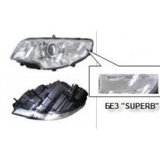 фара левая с рег.мотор внутри хром для SKODA SUPERB с 2008 и далее