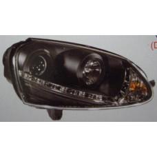 фара л+п (комплект) тюнинг (devil eyes) (ксенон) линзован (sonar) внутри черная для VOLKSWAGEN GOLF V с 2004 и далее