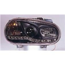 фара л+п (комплект) тюнинг линзован (devil eyes) (sonar) внутри черная для VOLKSWAGEN GOLF IV с 1998 по 2003