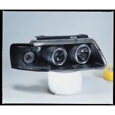 фара л+п (комплект) тюнинг линзован (devil eyes) , литой ук.повор (sonar) внутри черная для VOLKSWAGEN PASSAT B5 с 1997 по 2000